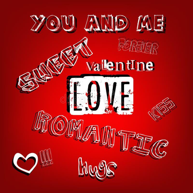 Lettres romantiques de mots de Valentine illustration stock
