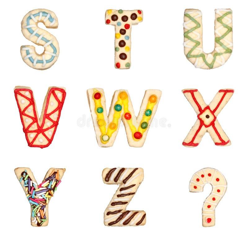 Lettres S à Z des biscuits décorés illustration libre de droits