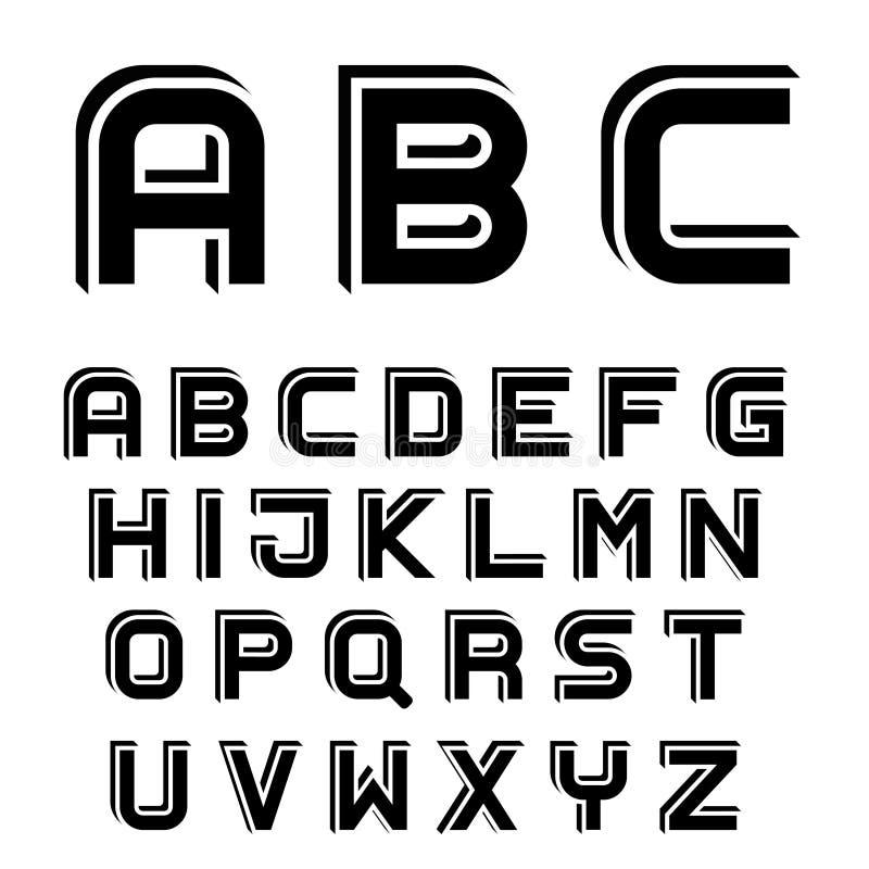 lettres simples noires d'alphabet de la police 3D illustration stock