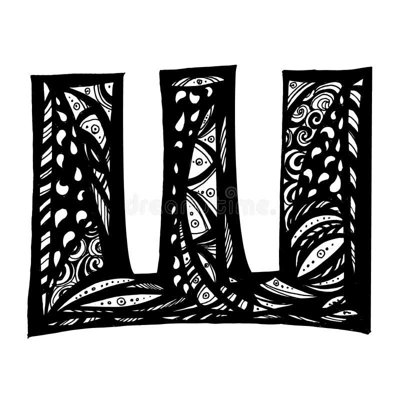 Lettres tirées par la main Alphabet russe mignon dans le style de griffonnage illustration de vecteur