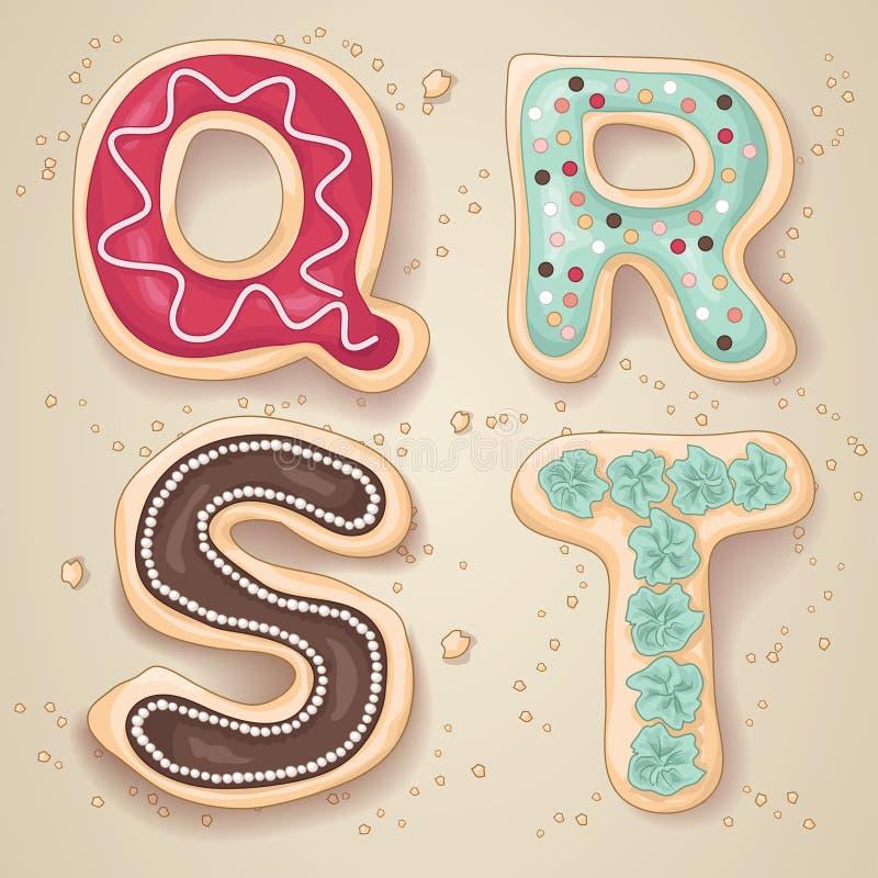 Lettres tirées par la main de l'alphabet Q à T illustration de vecteur
