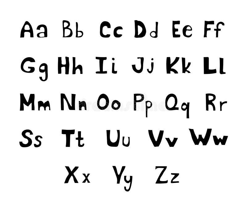 Lettres tirées par la main de majuscule et minuscule d'ABC de vecteur d'encre de brosse réglées Police comique de griffonnage pou illustration libre de droits