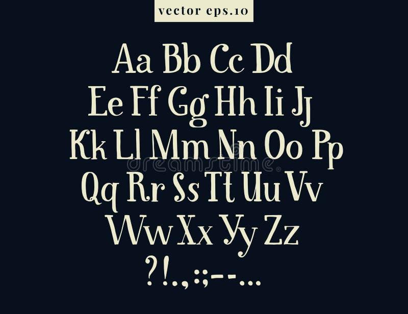 Lettres tirées par la main de vecteur de vintage sur le fond de tableau noir Police pour créer la conception à la maison mignonne illustration de vecteur