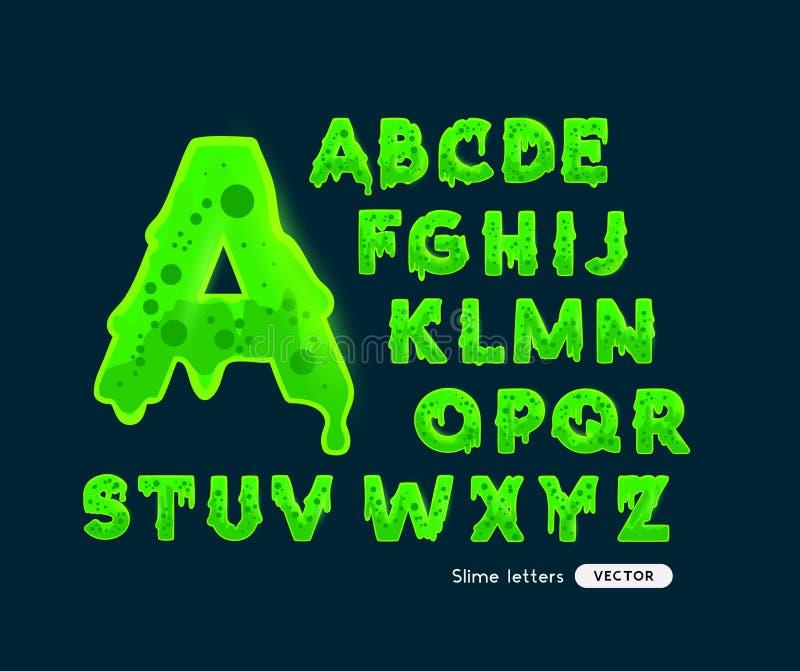 Lettres vertes rougeoyantes de boue illustration stock