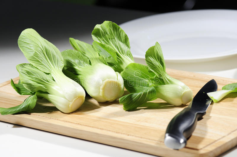 Lettuce on butcher royalty free stock image