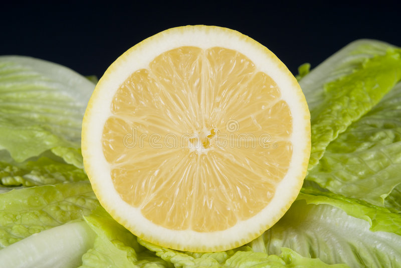 Lettuce and lemon royalty free stock images