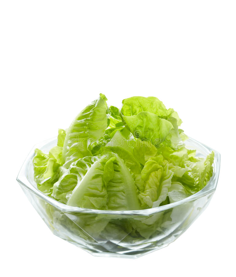 Lettuce Salad In Glass Bowl Stock Image - Image of ...