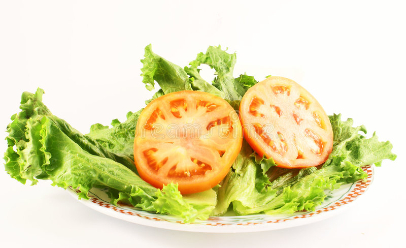 Lettuce and tomatoe royalty free stock photography