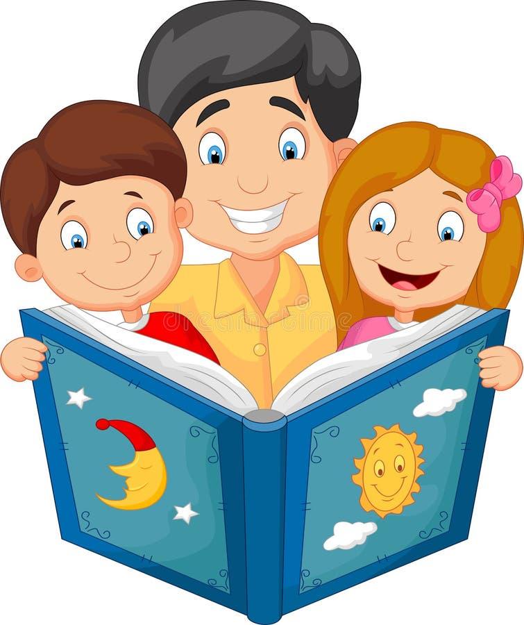 Lettura del padre del fumetto con i suoi bambini royalty illustrazione gratis