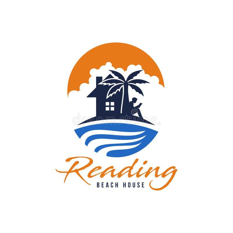 Lettura del vettore di logo della casa di spiaggia illustrazione di stock