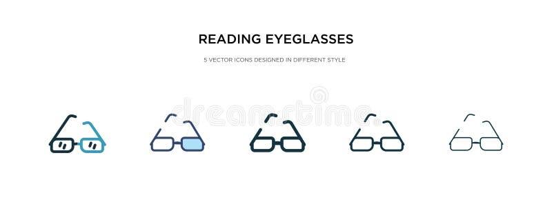Lettura dell'icona degli occhiali in illustrazione vettoriale di stile diverso due icone dei vettori di lettura di occhiali color illustrazione di stock