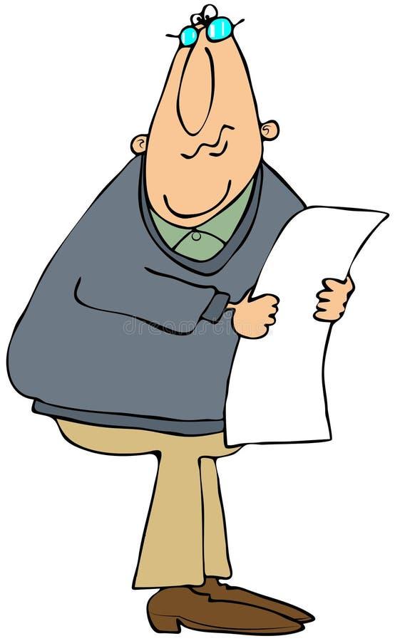 Lettura Dell Uomo Da Un Documento Lungo Fotografia Stock