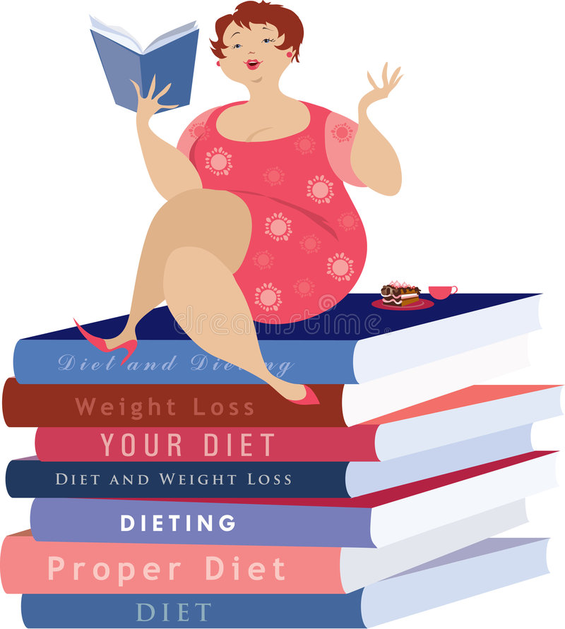 Lettura della donna circa la dieta royalty illustrazione gratis