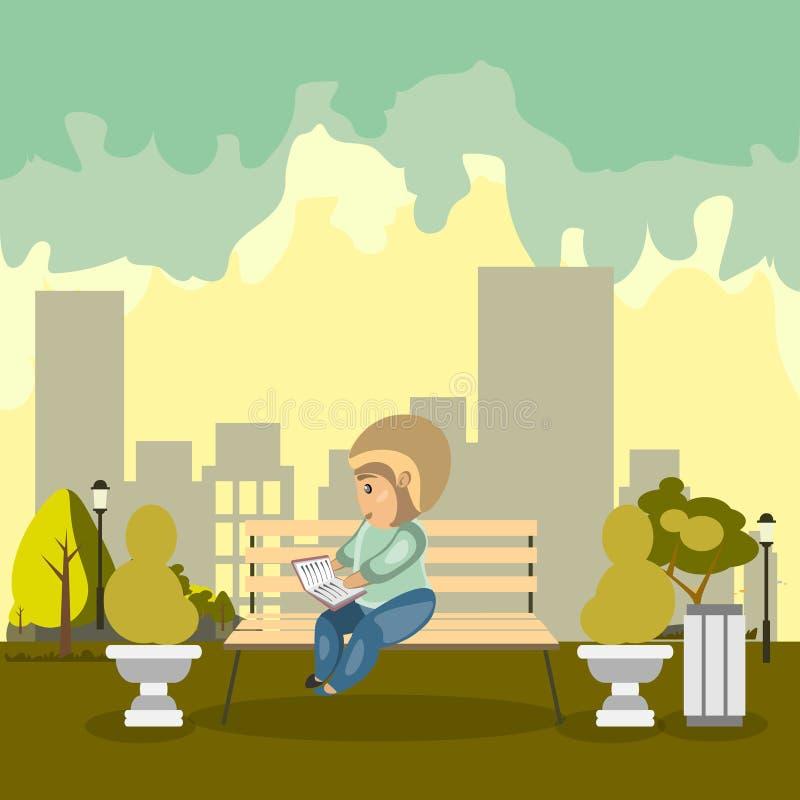 Lettura della persona sul parco illustrazione di stock