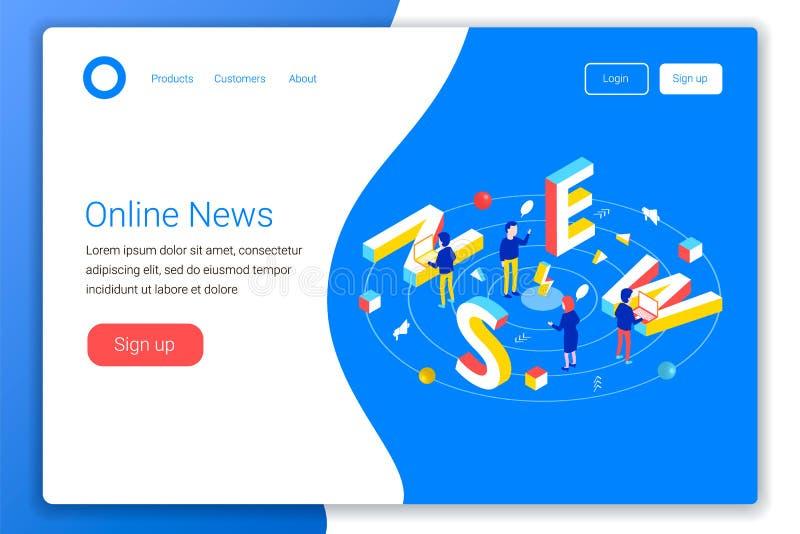 Lettura online o creare concetto di notizie illustrazione di stock