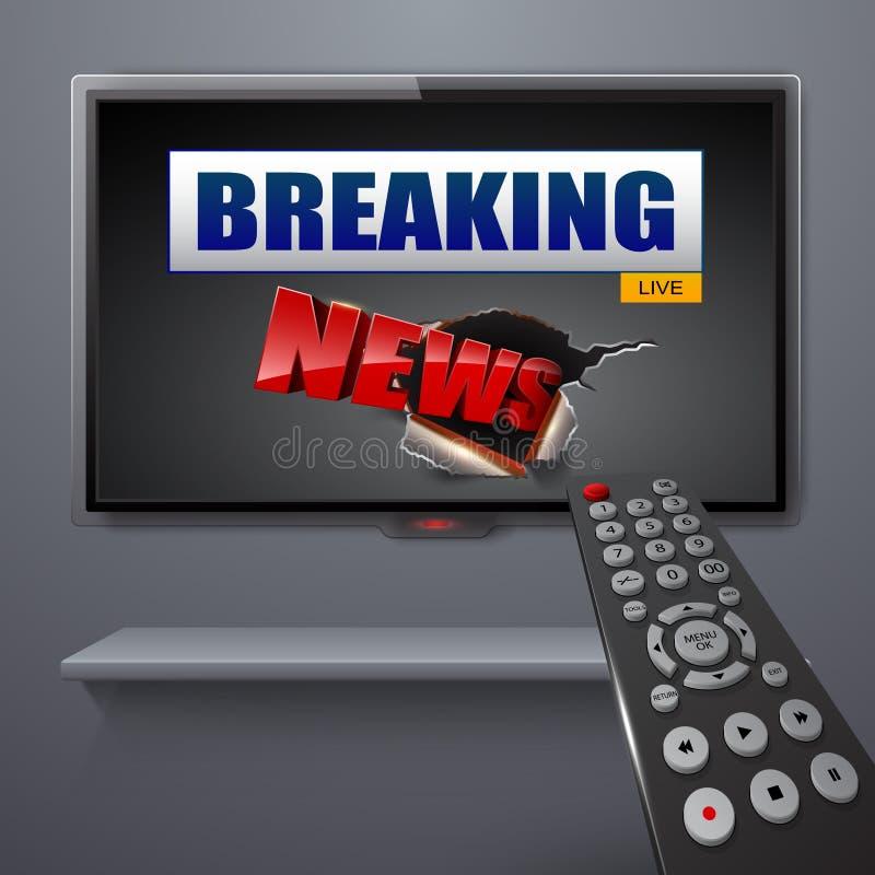 Letzte Nachrichten auf Fernsehen und Fernbedienung lizenzfreie abbildung