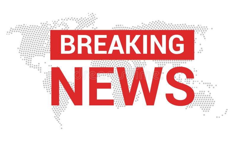 Letzte Nachrichten Weltnachrichten mit Karte backgorund Modernes Konzept der letzten Nachrichten Fernsehnachrichtendesign lizenzfreie abbildung