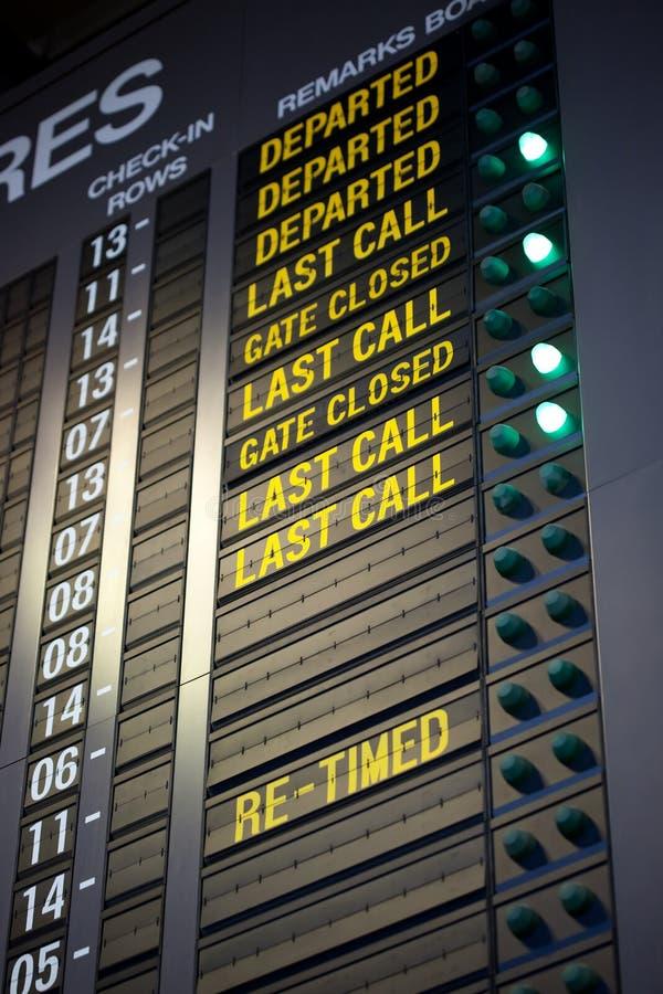 Letzter Aufruf für Einstiegflugzeug stockfotografie