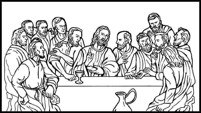 Letztes Abendessen der Jesus-Schüler lizenzfreie abbildung