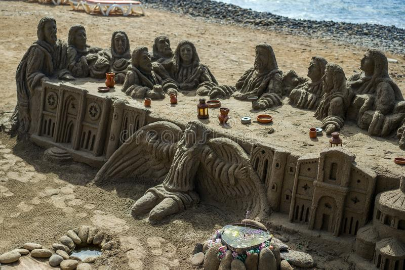 Letztes Abendessen von Jesus Christ auf dem Strand lizenzfreies stockfoto