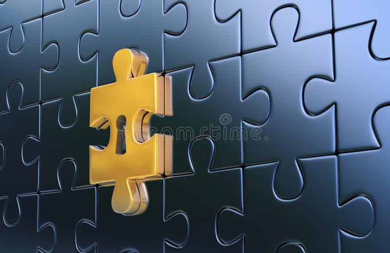 Letztes goldenes Stück des metallischen Puzzlespiels mit Schlüsselloch stockfotografie