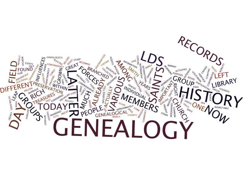 Letztes Tagesheilig-Genealogie-Text-Hintergrund-Wort-Wolken-Konzept lizenzfreie stockfotos