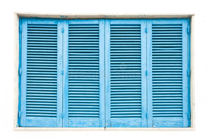Leuca, Apulia - A traditonal blue closed lamella window royalty free stock photo