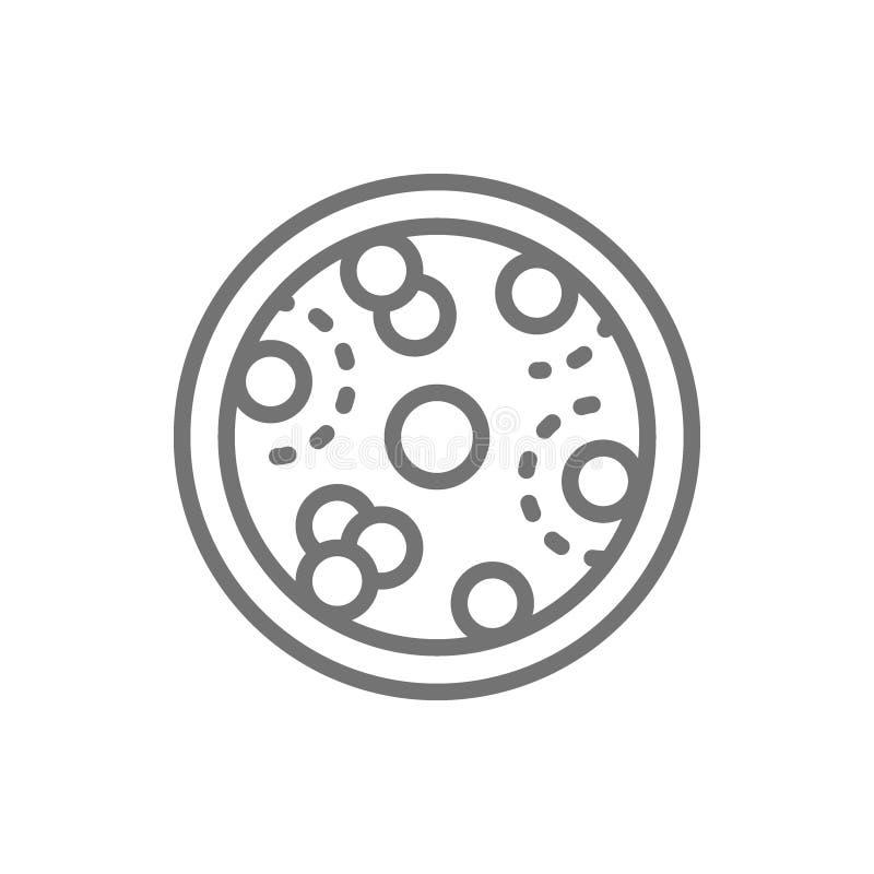 Leucemia, glóbulos com vírus do câncer, linha ícone da oncologia ilustração stock