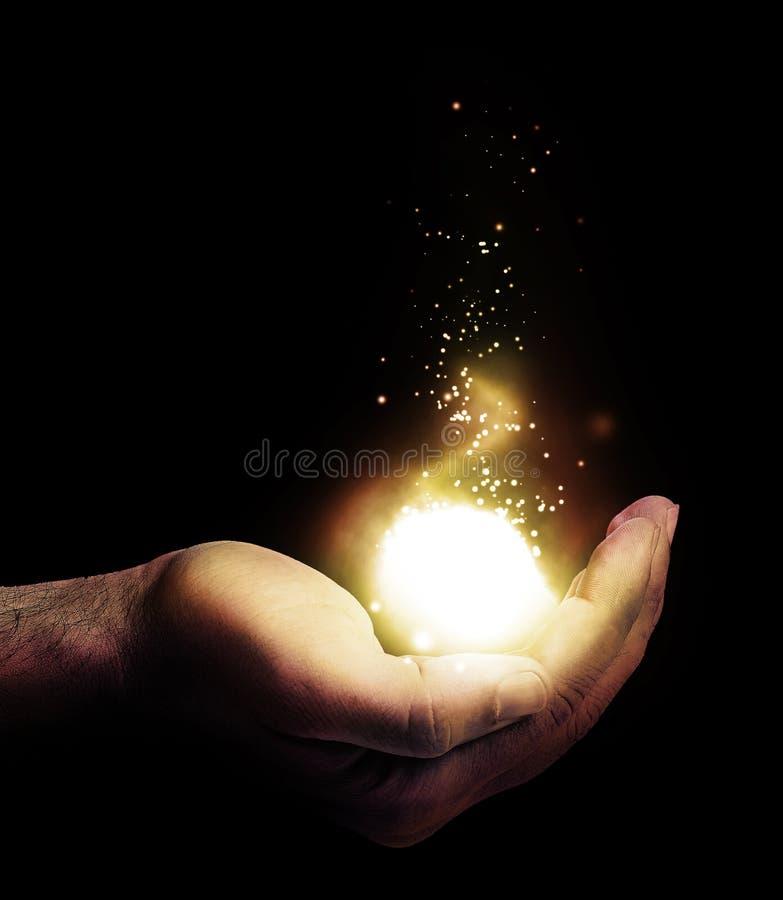 Leuchte auf einer Hand stock abbildung