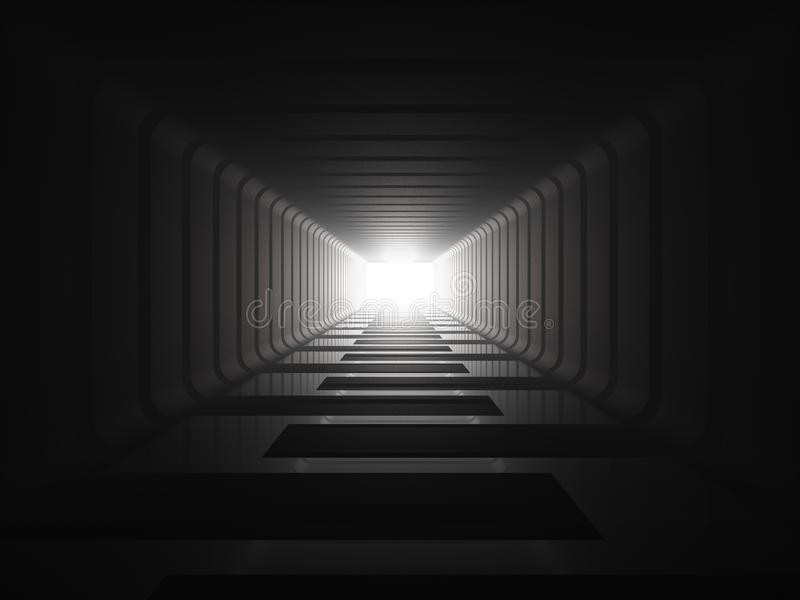 Leuchte am Ende des Tunnels stock abbildung