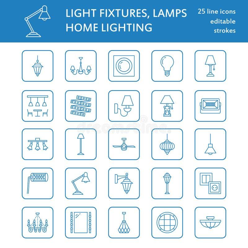 Leuchte, flache Linie Ikonen der Lampen Haupt- und lichttechnische Ausrüstung im Freien - Leuchter, Wandleuchter, Schreibtischlam lizenzfreie abbildung