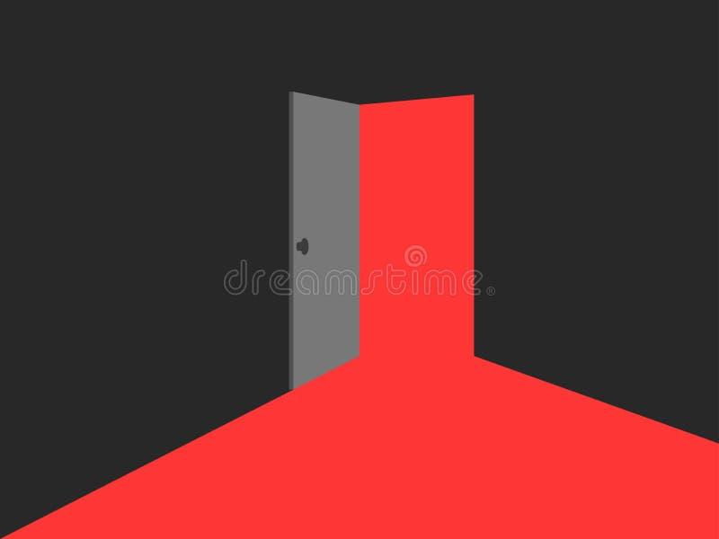 Leuchte von der offenen Tür Rote Leuchten stock abbildung