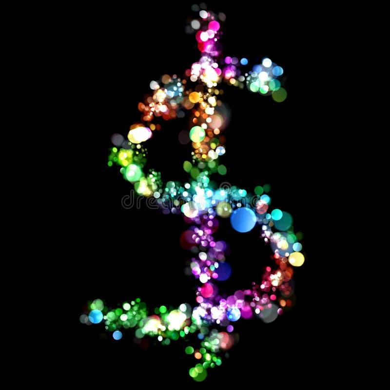 Leuchten in der Form von $ stock abbildung