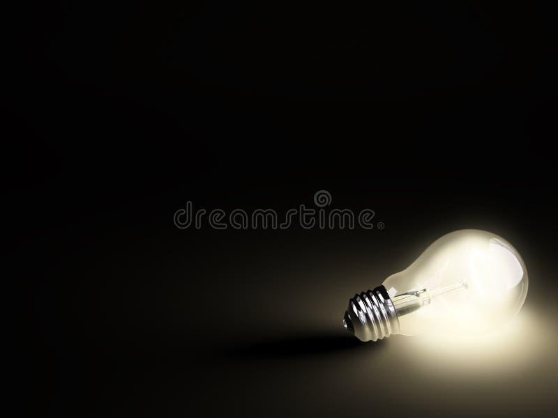 Leuchtende Glühlampe auf Schwarzem vektor abbildung