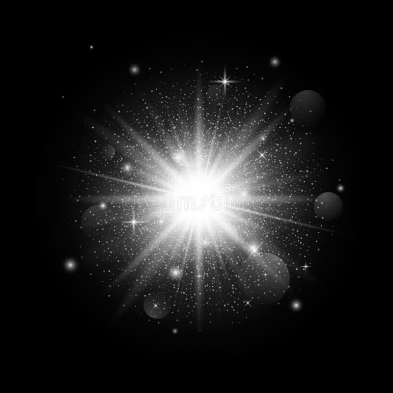 Leuchtendes Scheinsternlicht auf dunklem Hintergrund Weihnachtsdekoration mit Partikeln Sternenklarer Platz Auch im corel abgehob vektor abbildung