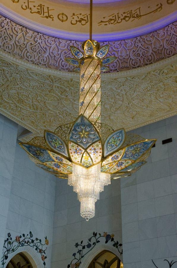 Leuchter bei Sheikh Zayed Grand Mosque stockfoto