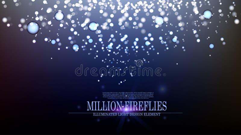 Leuchtkäfer-Hintergrunddesign III der Vektorzusammenfassung Million stock abbildung