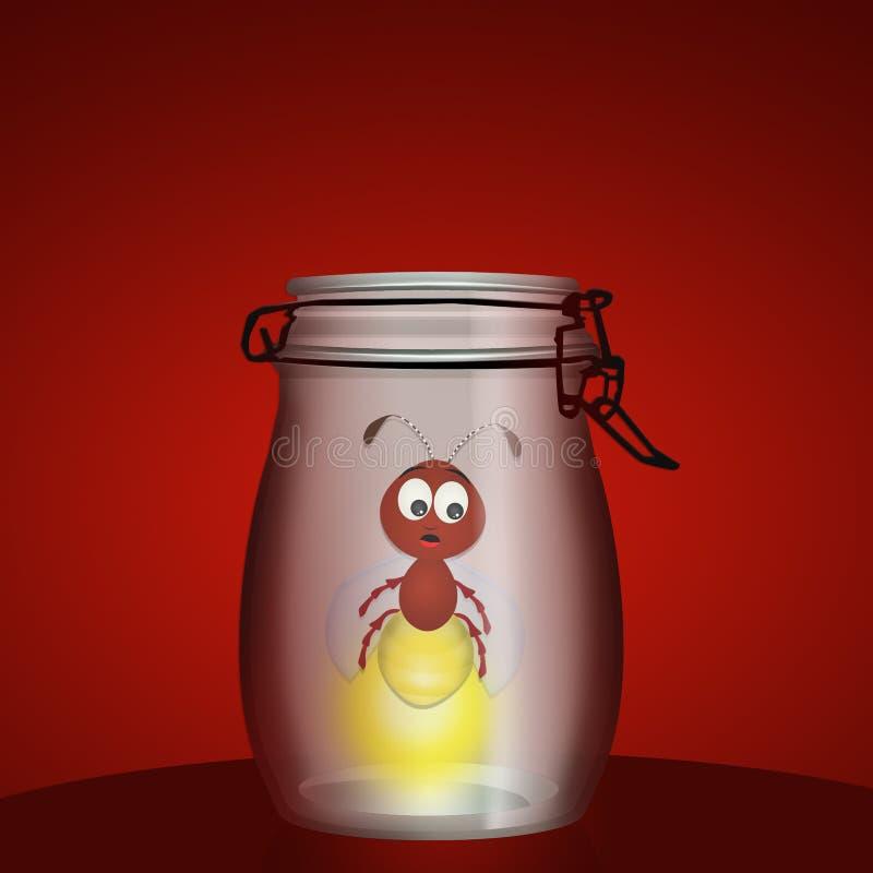 Leuchtkäfer im Vase stock abbildung