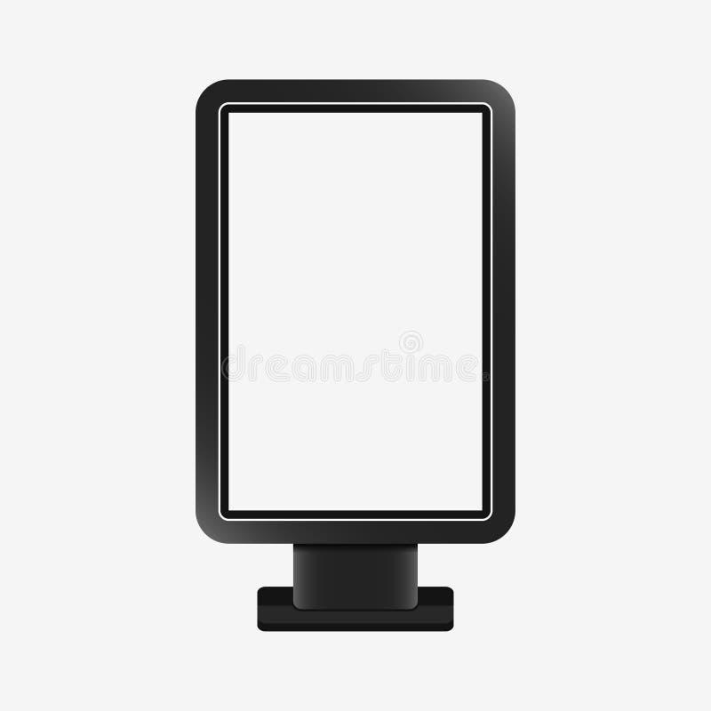 Leuchtkasten - realistisches Modell Leere Schablone von citylight Werbung- im Freienstandbrett, vertikale Anschlagtafel Vektor lizenzfreie abbildung