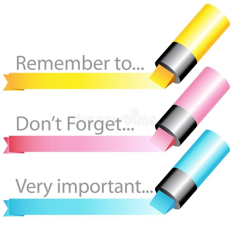 Leuchtmarkermarkierungs-Farbbandset stock abbildung