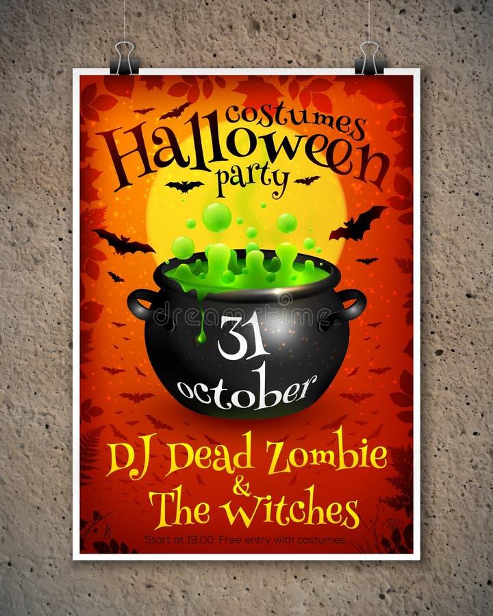 Leuchtorange-Halloween-Parteiplakatschablone mit stock abbildung