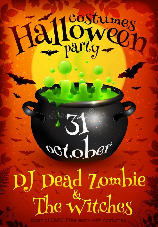 Leuchtorange-Halloween-Parteiplakatschablone mit vektor abbildung
