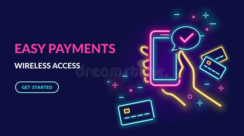 Leuchtreklame der Zahlung mit Kreditkarte über elektronische Geldbörse drahtlos und einfaches Helle Neonillustration des hellen V stock abbildung