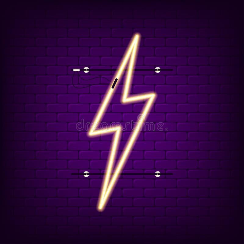 Leuchtreklame des Blitzes Glühendes helles Neonblitzschild Vektor vektor abbildung
