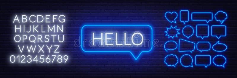 Leuchtreklame des Wortes hallo im Spracheblasenrahmen auf dunklem Hintergrund Stellen Sie von den Neonspracheblasen und vom Alpha vektor abbildung
