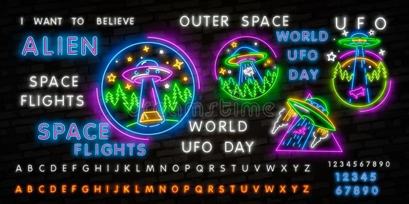 Leuchtreklame UFO Retro- Neonschild der fliegenden Untertasse auf dunklem Hintergrund Bereiten Sie f?r Ihren Entwurf, Ikone, Fahn vektor abbildung