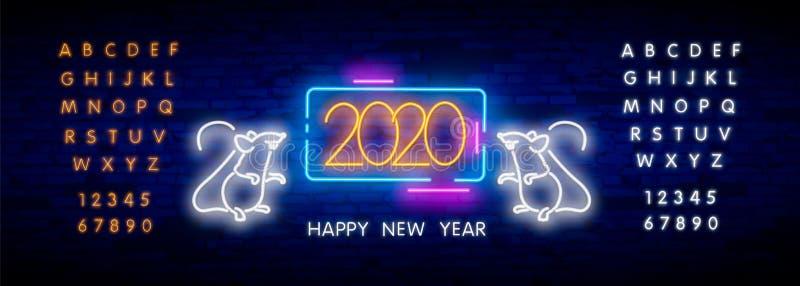 Leuchtreklame zwei tausend zwanzig mit froher Neonratte 2020 auf Backsteinmauerhintergrund Vektorillustration in der Neonart f?r  lizenzfreie stockfotos