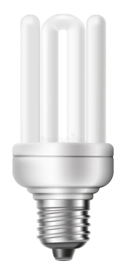 Leuchtstoff energiesparende Glühlampe lokalisiert auf weißem Hintergrund lizenzfreie abbildung