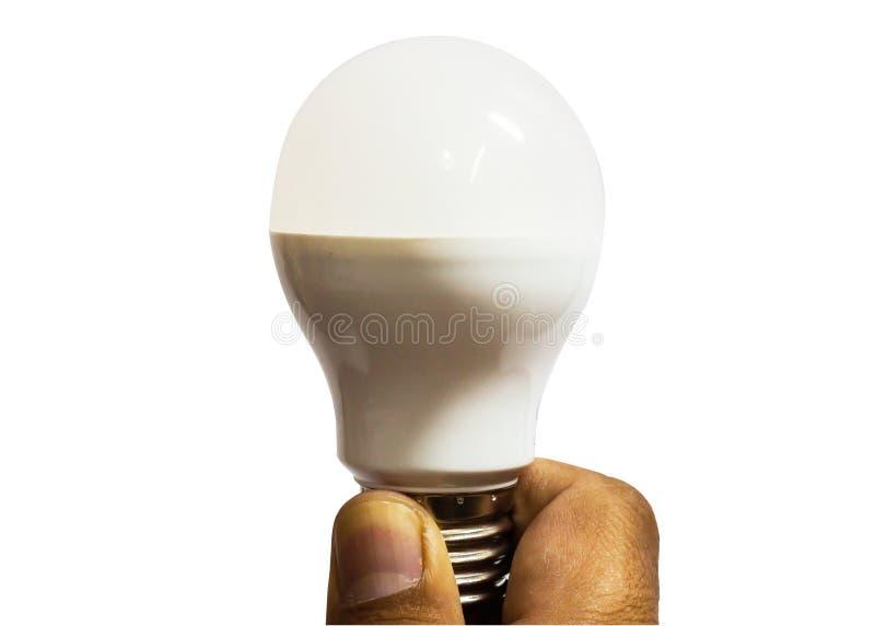 Leuchtstoffröhre in der Mannhand lizenzfreie stockfotos