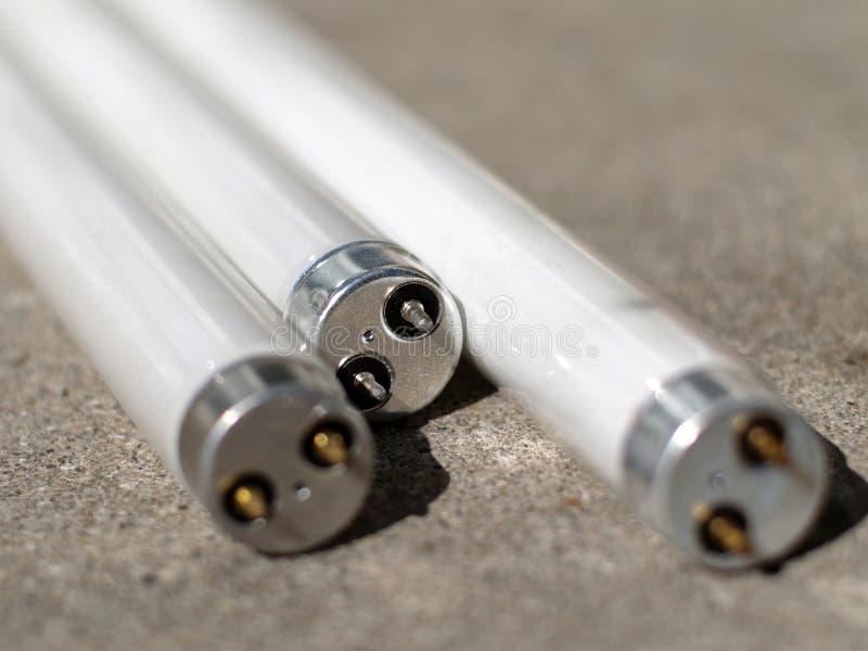 Leuchtstoffschläuche auf Beton stockfotografie